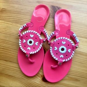 Pink and white flip flops with studs - size 6